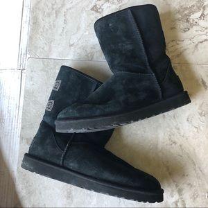 UGG Black Suede Boots with Rhinestone Bones